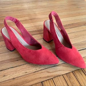 Christian Siriano Red Pointed Toe Slingback Pumps